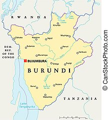 Burundi Political Map with capital Bujumbura, national...