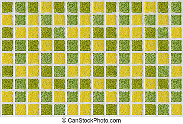tile mosaic square green yellow texture background