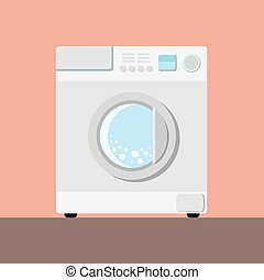 Washing machine - White washing machine on a pink backround