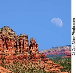Sedona Arizona Moon - Red Rock country mountains surrounding...