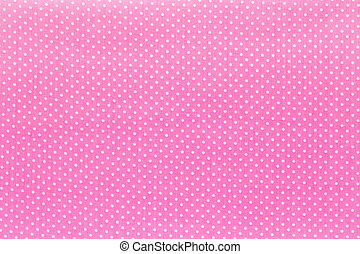Fabric textile with dots pattern - Pink and White Tiny Polka...