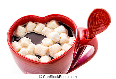 Hot Chocolate - Hot chocolate with marshmallows in red cup