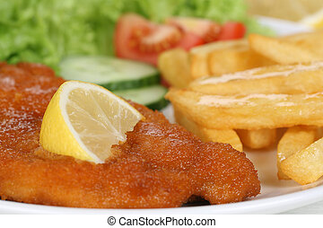 Schnitzel meal with french fries and lettuce on plate -...