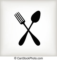 Crossed spoon and fork on gray background