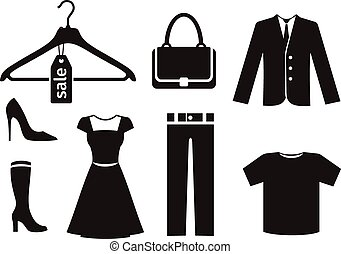 Clothes icon set in black color on white background Trousers...
