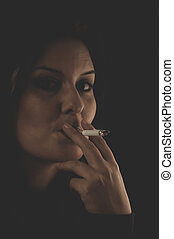 cigarette, Sensual brunette smoking, snuff smoke addiction