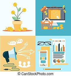 Icons for seo, social media online shopping - Icons for seo,...