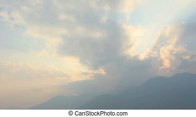 Timelapse sunset the airport Lukla - Timelapse sunset at the...