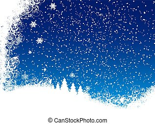 Christmas Blue Background From Snow