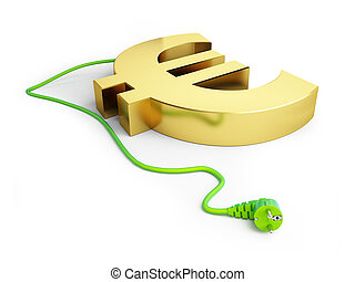 dollar sign green power plug on a white background