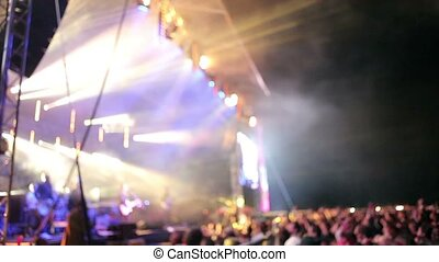Crowds at open air rock festival - Crowd cheering at the end...