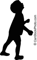 a child head looking up, silhouette
