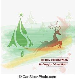 Seasons greetings,New year card with Christmas tree,deer...