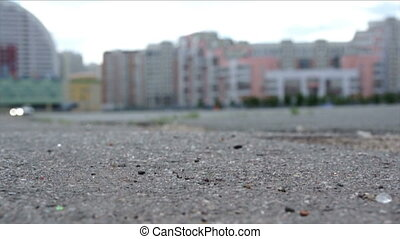 car drive on city - close-up view