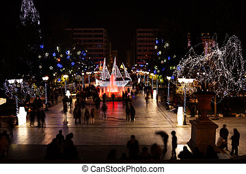 Syntagma Square during Christmas night in Athens - Syntagma,...