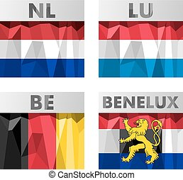 Benelux countries flags - A set of Benelux countries flags...
