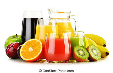 Glasses of assorted fruit juices isolated on white. Detox...