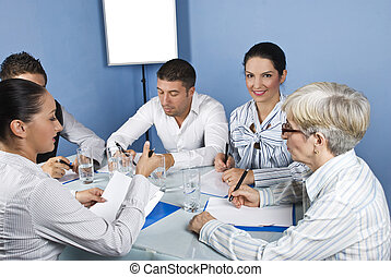 Business meeting with working people - Working people having...