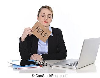 young stressed businesswoman holding help sign overworked at...