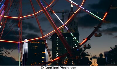 Ferris wheel - Ferris wheel rotates in the middle of the...