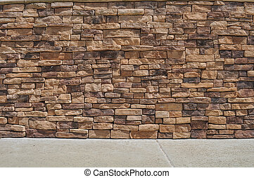 tijolo, parede, e, calçada,