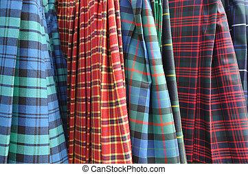 escocés, faldas escocesas,