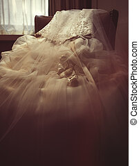 Close shot of a wedding dress - A Close shot of a wedding...