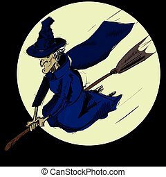 Witch flying on the broom. Sketch illustration