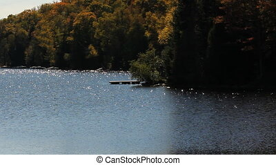 Cottage country shoreline. - Sparkling lake beside shoreline...