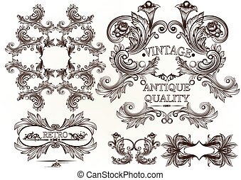 Collection of vector engraved frame - Vector set of...
