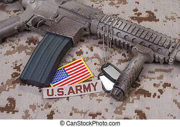 us army special forces uniform and weapon concept background