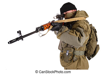 mercenary sniper with SVD rifle isolated on white background