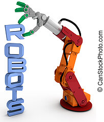 Robot arm technology robots word stack - Robot arm holding...