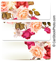 Floral backgrounds set with roses - Set of floral brochures...
