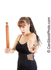 Angry woman with rolling pin saying no , Girl in elegant...