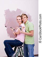happy renovating couple