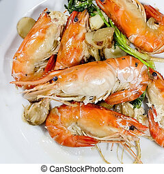 Close up baked Salted Prawns