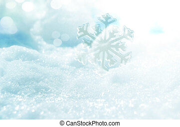 ice crystal on snow in blurred background