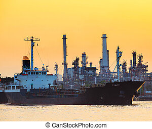 petroleum gas container ship and oil refinery plant industry...
