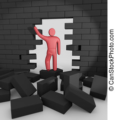 Abstract man breaking trough a wall Concept of overcoming...