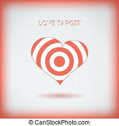 Red heart target icon. Love aim concept. Vector