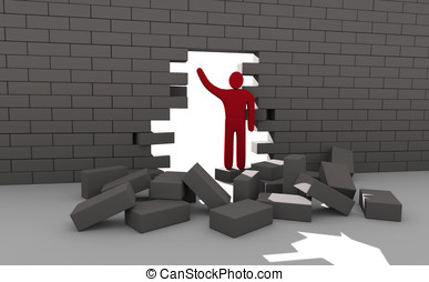 Abstract man breaking trough a wall. Concept of overcoming...