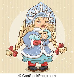 Snow Maiden holds a lamb