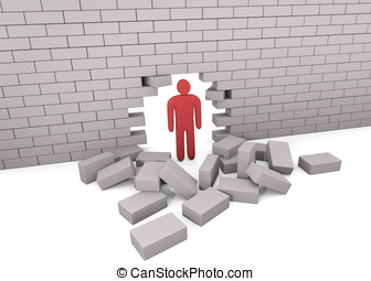 Man punched a hole in a brick wall. Concept of problem solution