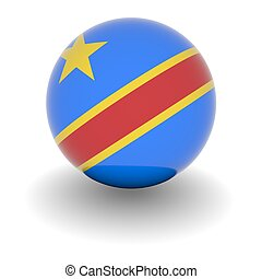 3D Ball with Flag of the Democratic Republic of the Congo. High resolution 3d render isolated on white.