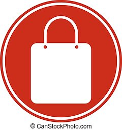 Shopping bag button on white background. Vector...