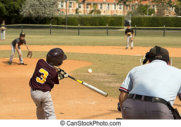 Baseball Players - Kids playing Baseball in youth league