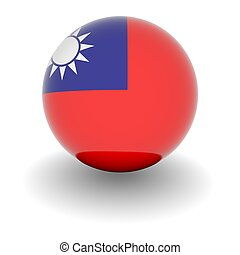 High resolution ball with flag of Republic of China - 3D...