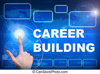 Touch screen digital interface of career building concept