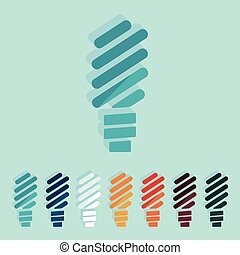 Flat design: fluorescent light bulb